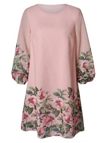 Long Sleeve Floral Printed Shift Dress