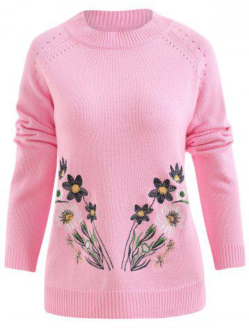Floral Embroidery Hollow Out Sweater