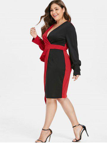 Plus Size Color Block Asymmetrical Surplice Dress, Red