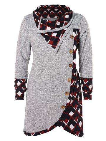 Plus Size Plaid Buttons Long Tunic T-shirt