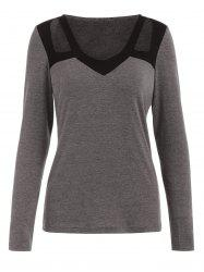 Color Block Cut Out Full Sleeve T-shirt -