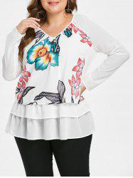 Plus Size Floral Layered Blouse -