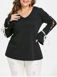 Plus Size Tied Split Sleeve Tee -