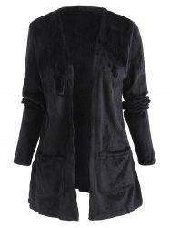Collarless Pocket Tunic Fuzzy Coat -