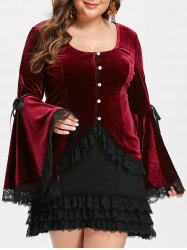 Plus Size Halloween Costume Flare Sleeves Velvet Top With Cami Dress -