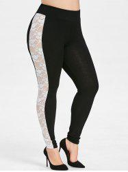 Plus Size Lace Insert High Rise Leggings -