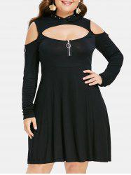 Plus Size Cold Shoulder Rivet Embellished Hooded Flare Dress -