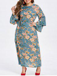 Plus Size Flare Sleeve Floral Long Dress -