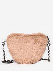 Faux Fur Heart Shape Chain Crossbody Bag -