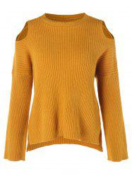 Drop Shoulder Long Sleeve Ribbed Knitwear -
