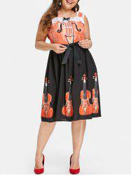 Halloween Plus Size Violin Print Flare Dress -