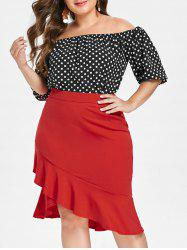 Plus Size Dotted Two Piece Fishtail Dress -