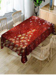 Christmas Balls Tree Print Fabric Waterproof Tablecloth -