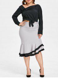Plus Size Two Piece Bodycon Fishtail Dress -