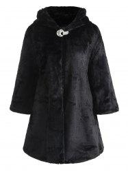 Drop Shoulder Hooded Faux Fur Coat -