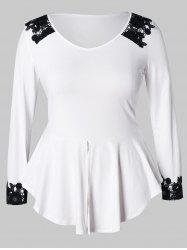 Plus Size Lace Panel Peplum Tee -