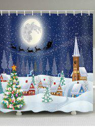 Snowing Christmas Waterproof Bathroom Shower Curtain -