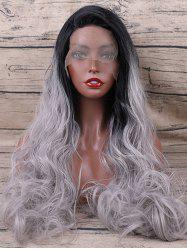 Free Part Colormix Long Wavy Synthetic Lace Front Wig -