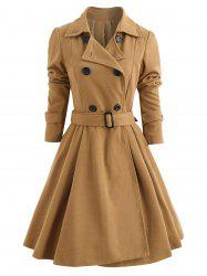 Fit and Flare Double Breasted Coat -