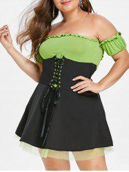 Plus Size Off Shoulder Mesh Halloween Costume Lace Up Mini Dress -