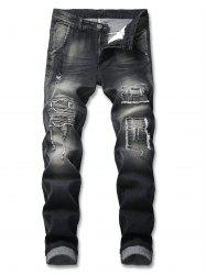 Patched Frayed Embellished Zip Fly Jeans -