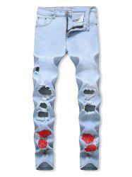 Flowers Embroidered Stretchy Zip Fly Jeans -