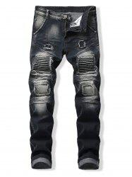 Patched Spliced Distressed Slim Fit Jeans -