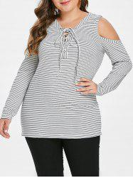 Plus Size Exposed Shoulder Striped Long Sleeve T Shirt -