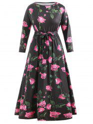 Plus Size High Waisted Floral Long Dress -