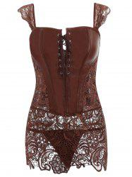 Lace Trim Open Back Sleeveless Corset -