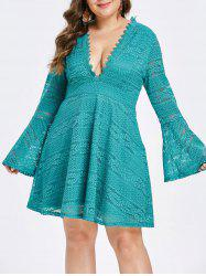 Plus Size Plunging Flare Sleeve Lace Dress -