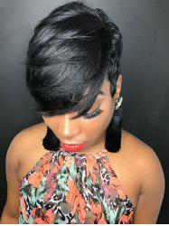 Inclined Fringe Short Layer Straight Human Hair Wig -