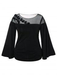 Plus Size Mesh Panel Butterflies Flare Sleeve T-shirt -