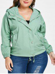 Plus Size Front Pockets Hooded Jacket -