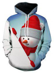 3D Christmas Snowman Printed Contract Color Hoodie -