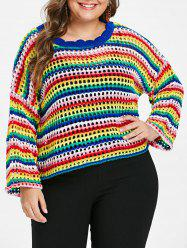 Plus Size Rainbow Hollow Out Sweater -