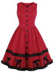 Vintage Buttons Flounced Pin Up Dress -