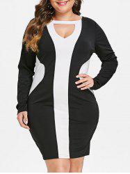 Plus Size Keyhole Contrast Bodycon Mini Dress -