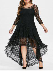 Plus Size Asymmetric Lace Dress with Cami Dress -