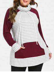 Cowl Neck Striped Plus Size Hoodie -