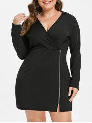 Zip Embellished Plus Size Hooded Bodycon Dress -