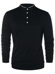 Half Button Long Sleeve T-shirt -