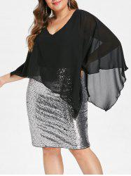 Plus Size Overlay Sequin Bodycon Party Dress -