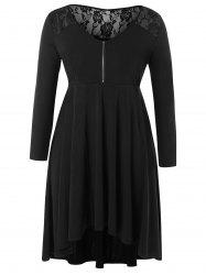 Lace Panel Plus Size Half Zip High Low Dress -