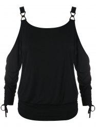 Plus Size Cut Out Shoulder Ruched T-shirts -