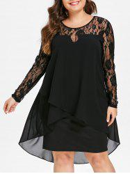 Plus Size High Low Hem Sheer Lace Sleeve Dress -