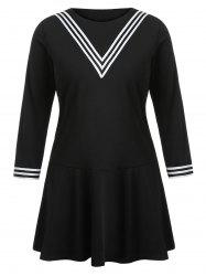 Plus Size Long Sleeves Dress with Striped Ribbons -