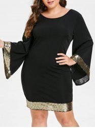 Bell Sleeve Sequins Plus Size Dress -
