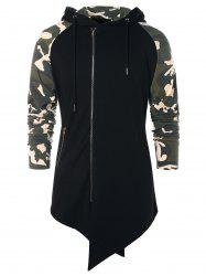 Asymmetric Camo Panel Zip Up Hoodie -