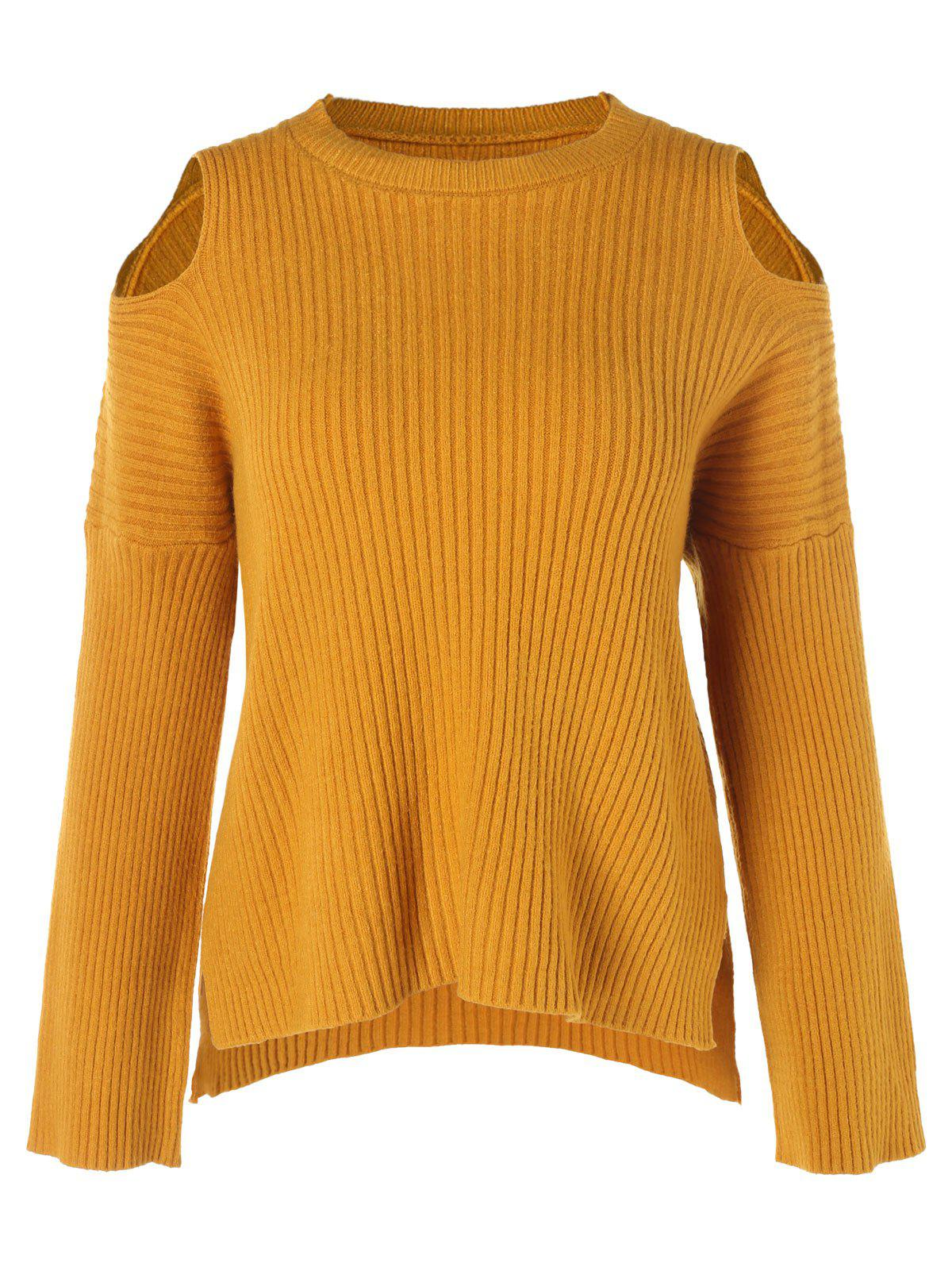 Chic Drop Shoulder Long Sleeve Ribbed Knitwear